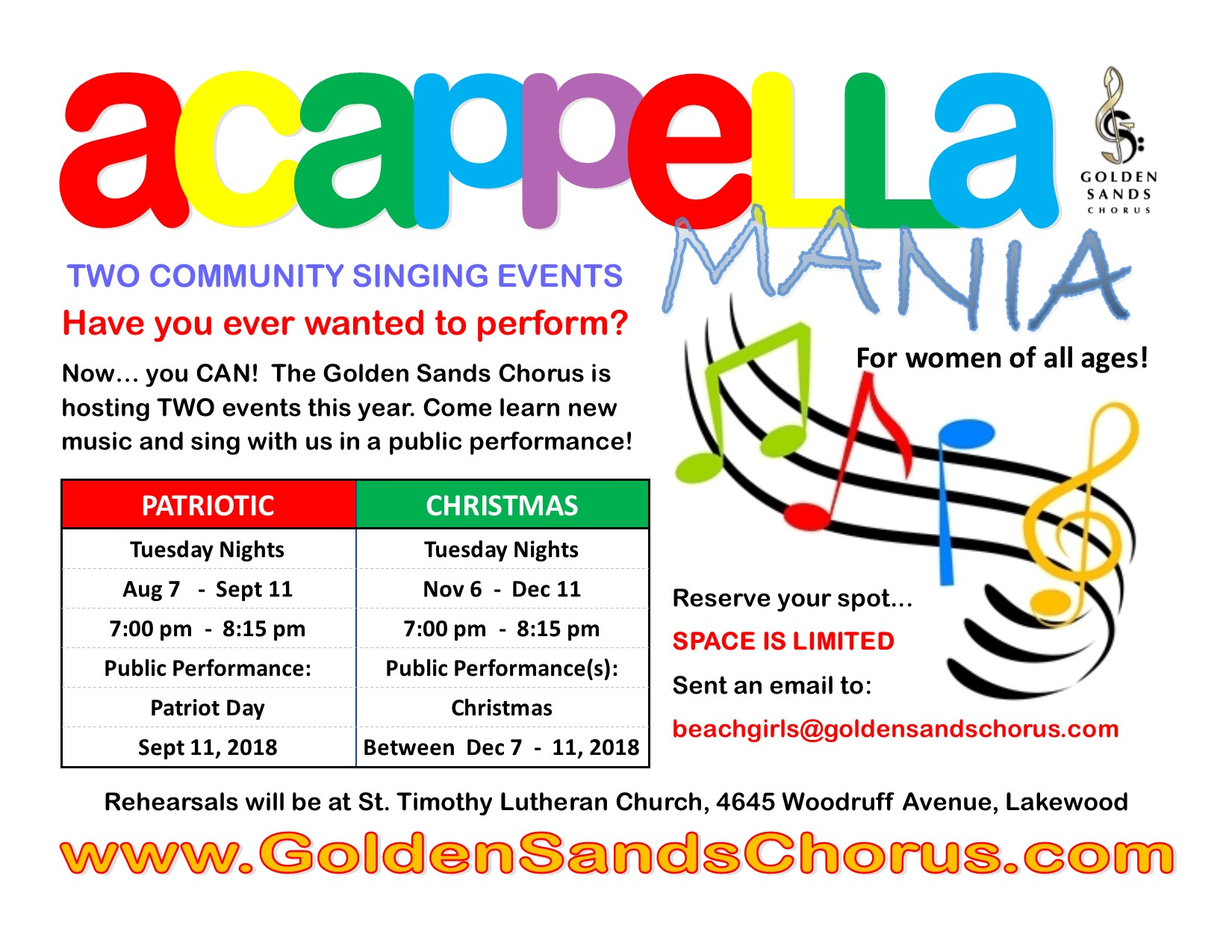 2018 A Cappella Mania Drives Postcard Front